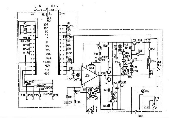 Digital Multimeter Block Diagram furthermore Internal Diagram Of Ohmmeter furthermore Lesson 006 additionally Multiple Attenuator Wiring Diagram further Schematic Symbol For Ohmmeter. on vacuum tube voltmeter schematic