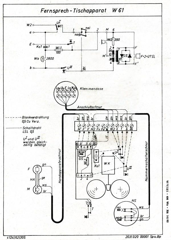 Rft Dial Telephone W61 Diagram